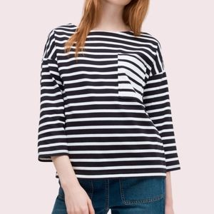 kate spade contrast striped pocket tee XXL black